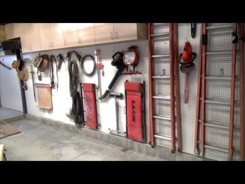 Installed New Garage Shop Upper Cabinets Pegboard
