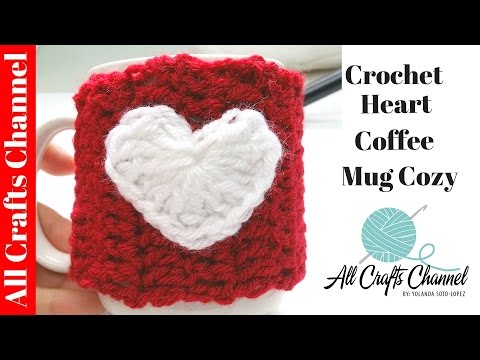 How to Crochet Heart Coffee Mug Cozy