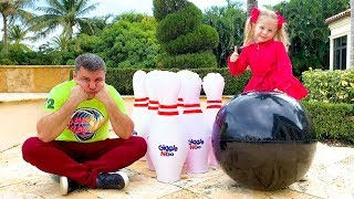 Nastya and dad staged funny competitions