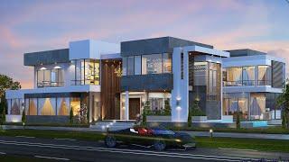 Проект дома в современном стиле. Дом с бассейном, террасой и парковкой. Ремстройсервис V-735