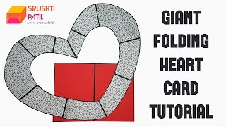 Giant Folding Heart Card Tutorial by Srushti Patil | Big Folding Heart Card | Proposal Card