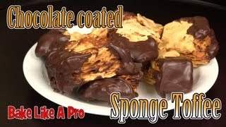 How To Honeycomb / Crunchie bar recipe !  / Sponge Toffee recipe