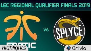 Gambar cover FNC vs SPY Highlights Game 1 LEC 2019 Regional Qualifier Finals Fnatic vs Splyce LEC Highlights by O