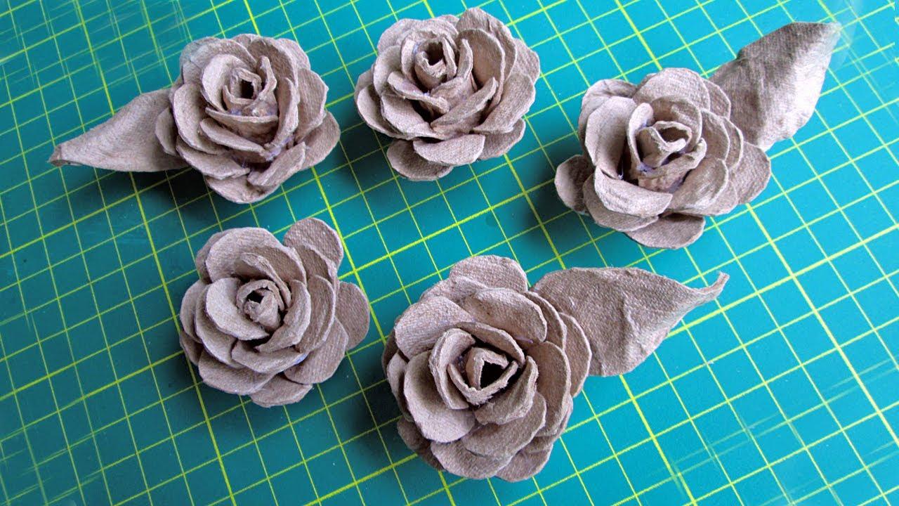 Розы из яичного лотка