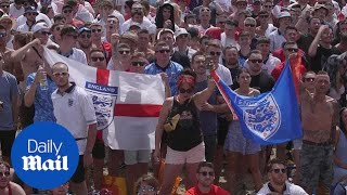 England fans react to third World Cup goal at Isle of Wight festival