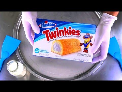 Ice Cream Rolls   how to make rolled fried Ice Cream with Hostess Twinkies golden Sponge Cake   ASMR