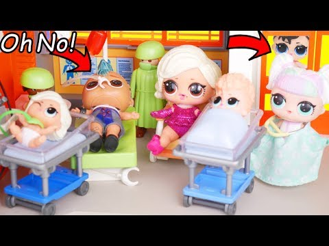 LOL Surprise Dolls Visit Playmobil One Star Hospital For Weird Wrong Heads   Toy Egg Videos