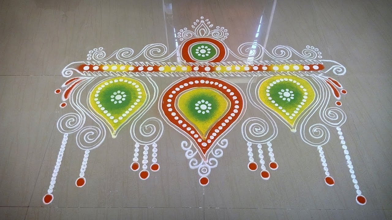 unique door rangoli design tutorial youtube