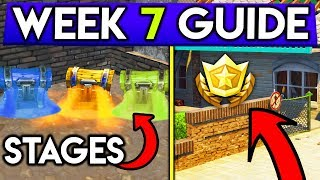 Fortnite WEEK 7 guia de desafios! Locais do estágio do peito, Battlestar secreto! (Battle Royale temporada 5)