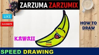 🍌🍌 SPEED DRAWING HOW TO DRAW  KAWAII BANANA STEP BY STEP 🍌🍌