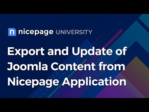 Export and Update of Joomla Content from Nicepage Application