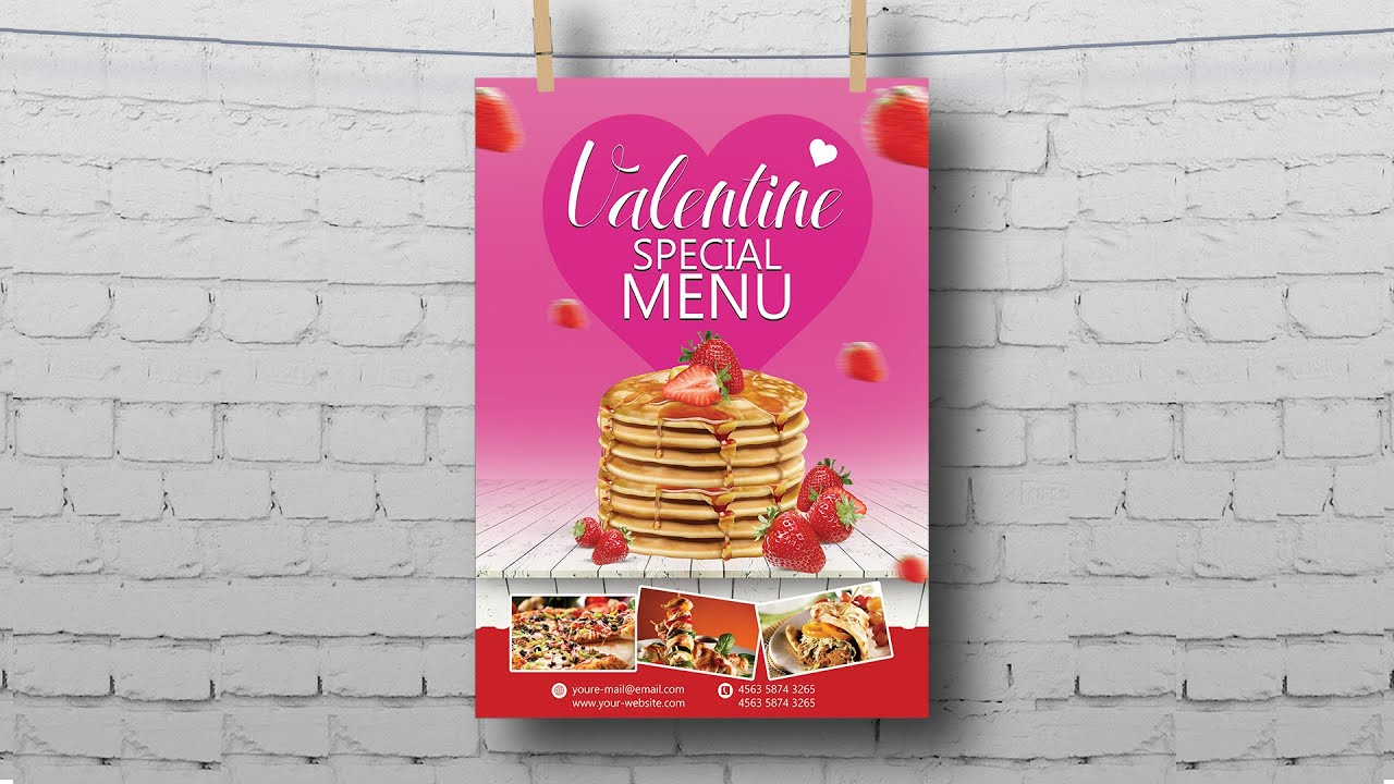 How to design Valentine Food Menu Flyer | Photoshop Tutorials