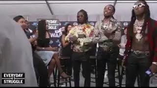 Migos tries to fight Joe budden and Chris Brown after interview! (footage)