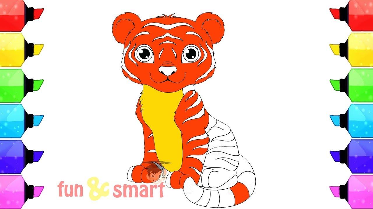 Cara Mewarnai Gambar Binatang Harimau Lucu
