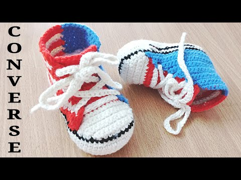 How To Crochet Perfect Shaped Baby Converse Shoes / Sneakers Easy Tutorial