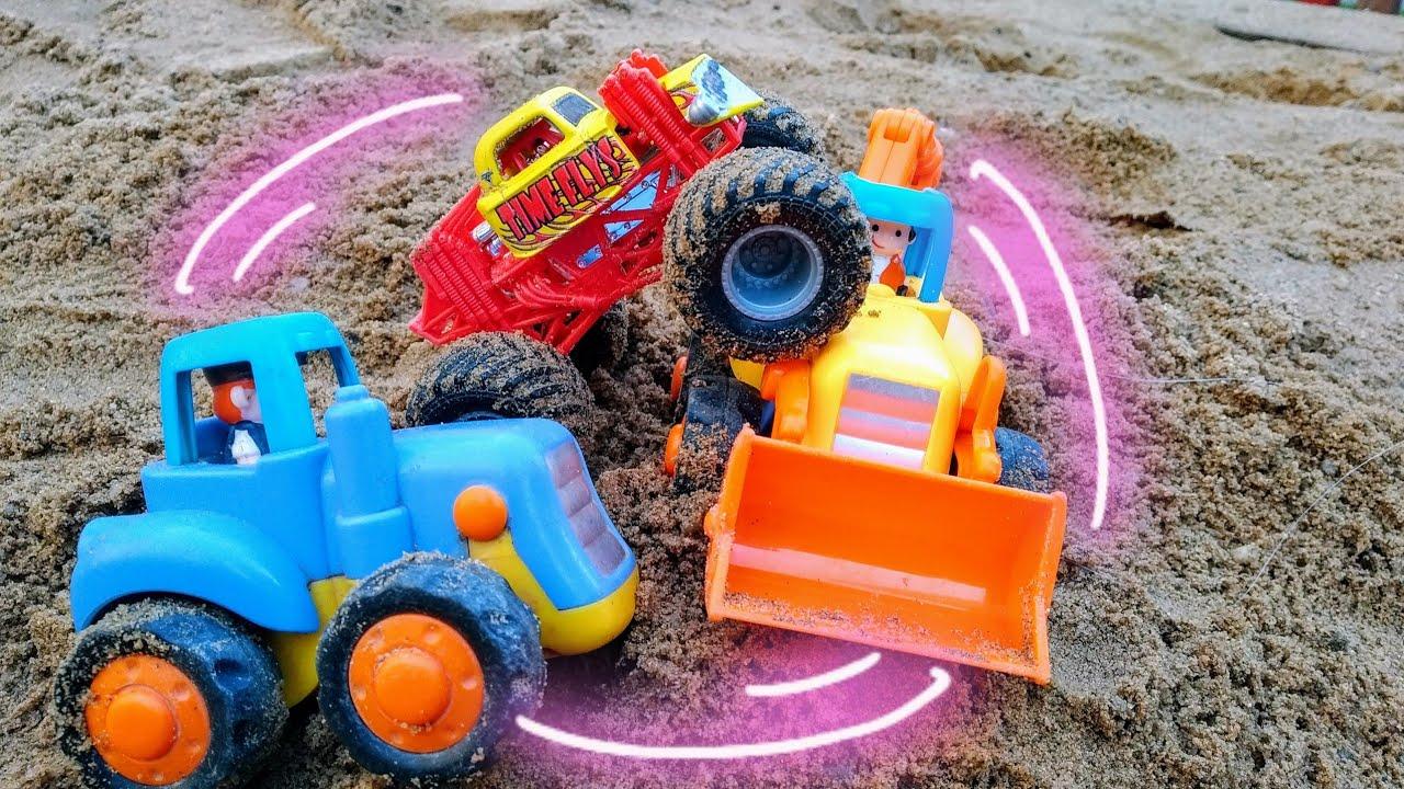 Мультики про машинки. Синий трактор помогает монстр траку ...