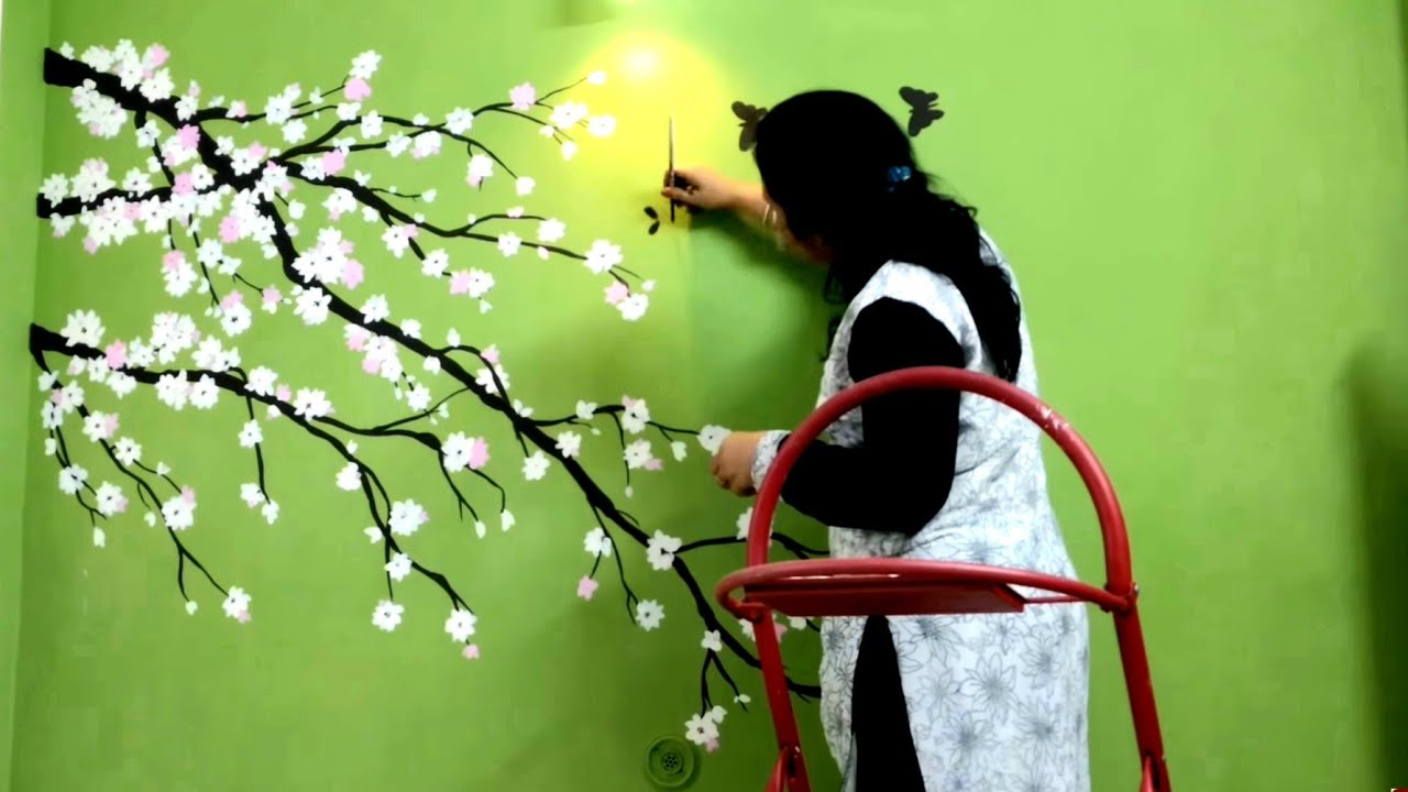 Wonderful Cherry Blossom Flower Green Wall Painting   Babita Keshan