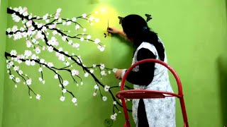 Cherry Blossom Flower Green Wall Painting - Babita Keshan