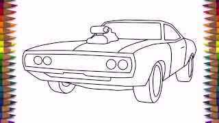 How to draw a car Dodge Charger 1970 step by step easy for kids and beginners