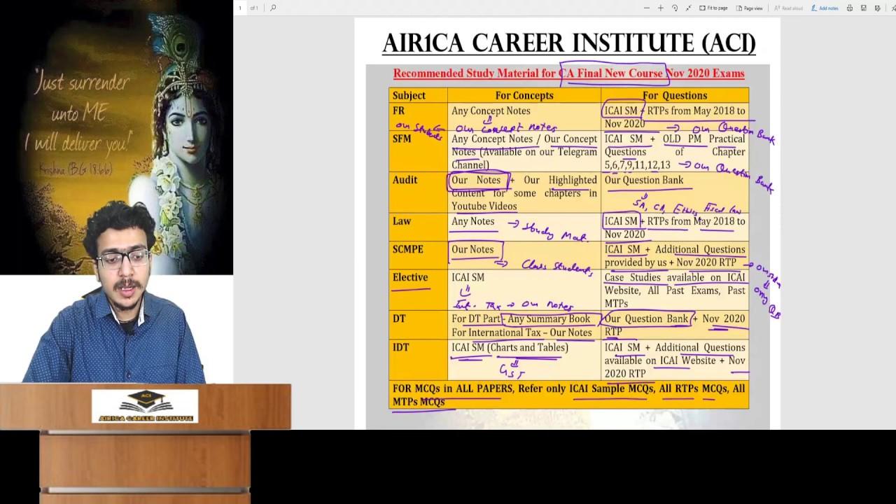 Sure Success Study Material for CA Final Nov 2020 Exams (old&new) | AIR1 Atul Agarwal | Confirm Rank