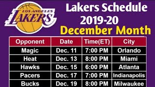 Lakers Complete Schedule of December Month || NBA 2019-20