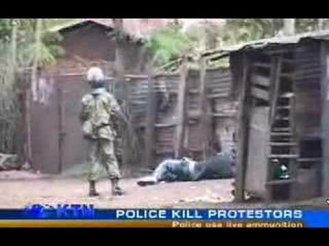 Kenya police shoots then kicks body of the dead