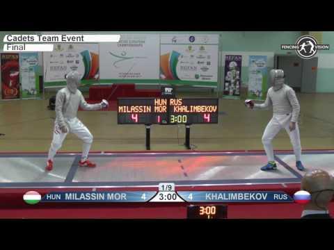 Cadets European Championships Final Men Sabre Team Hungary vs Russia