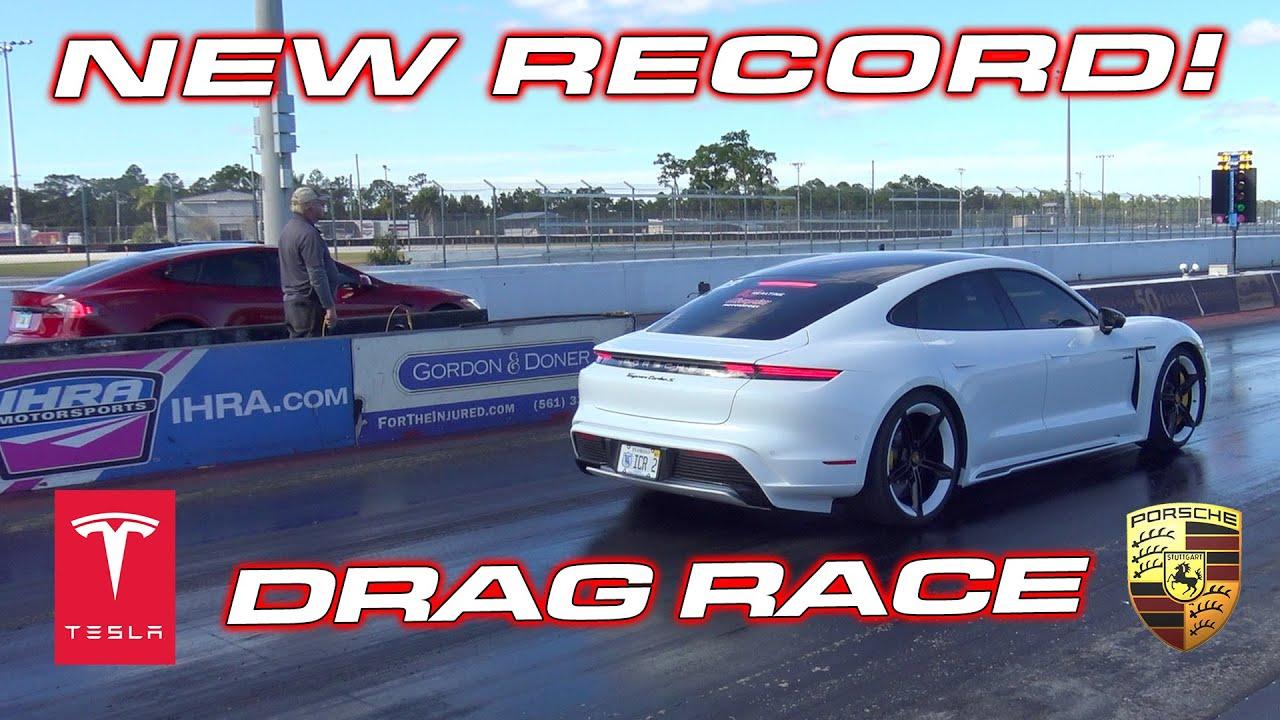 NEW EV RECORD! * Taycan Turbo S vs Tesla Model S Performance 1/4 Mile Down a REAL DRAG STRIP