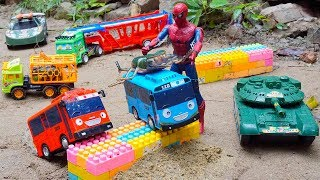 Military Vehicles Army Tank Rocket Truck & Spiderman Toys rescues Animal Truck Tayo The Little Bus