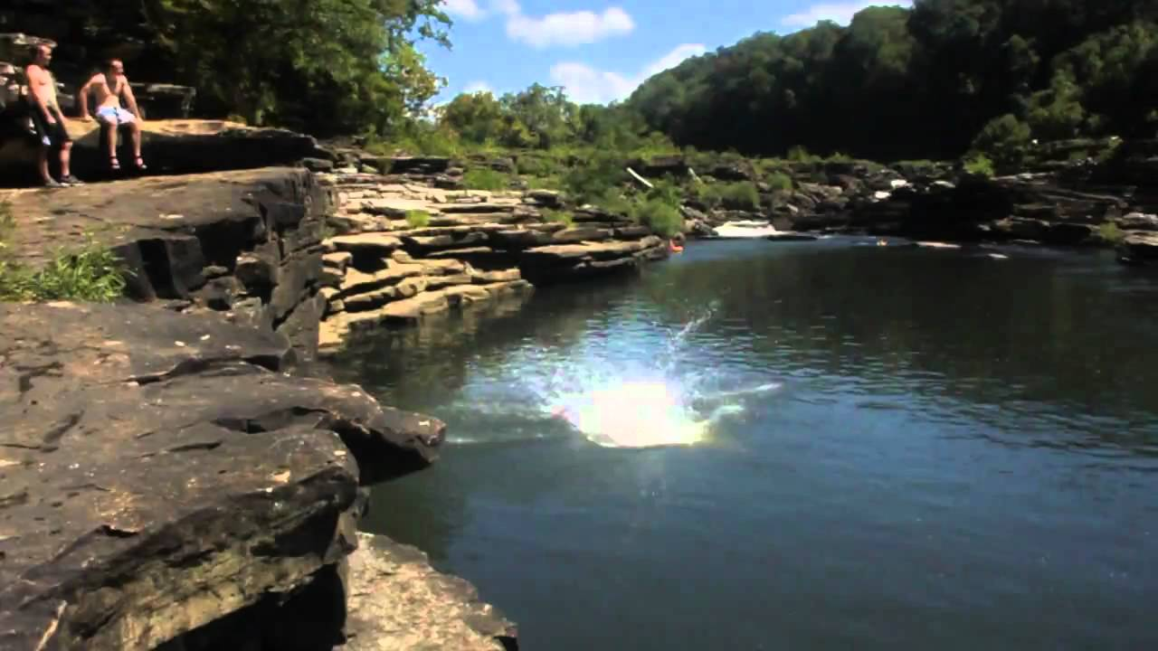 cliff diving at rock island  tn