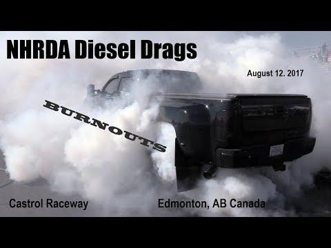NHRDA Diesel Drags 2017, Burnouts. Castrol Raceway, Edmonton, AB Canada