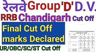 RRB D Group Chandigarh Zone Cut off And Admit card Released for Document Verification (D.V.)