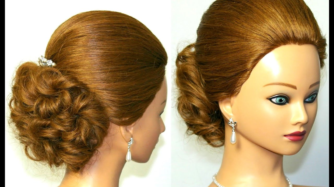 Simple Hairstyles For Long Hair Youtube : Easy prom, bridal updo. Hairstyle for medium long hair. - YouTube