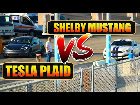 TESLA MODEL S PLAID INSANE ACCELERATION!! GAME OVER!! SHELBY MUSTANG GT DESTROYED.