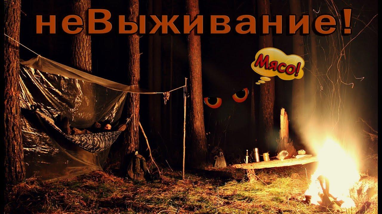 Душевная ночёвка в лесу! Жарю мясо. Ночь в гамаке. Bushcraft
