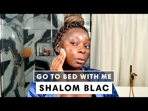 Shalom Blac's Nighttime Skincare Routine | Go To Bed With Me | Harper's BAZAAR
