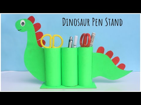 DIY Dinosaur Pen Stand | Cardboard Tube Crafts