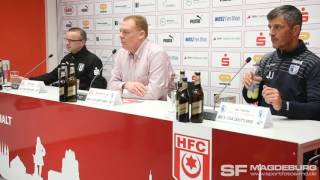 Pressekonferenz - Hallescher FC gegen 1. FC Magdeburg 1:2 (1:1) - www.sportfotos-md.de