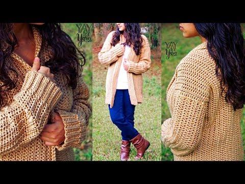 Comfy Cozy Cardigan - Beginner Friendly Crochet Sweater Pattern | Yay For Yarn