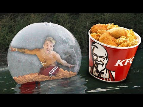 I Survived The Night In A Zorb Ball Filled With KFC Chicken..