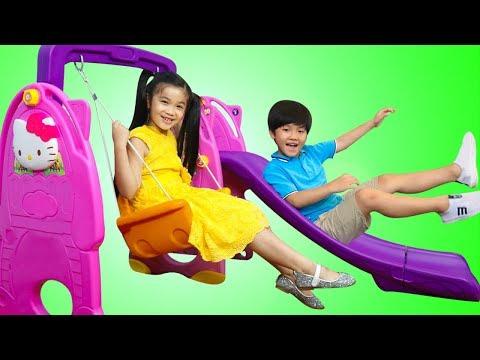 Hana & Tony Pretend Play w/ Slide & Swing Playground Ballpit Balls Kids Toys