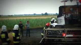 OSP Grabów nad Prosną - pożar kombajnu i zboża na pniu - 20 lipca 2014