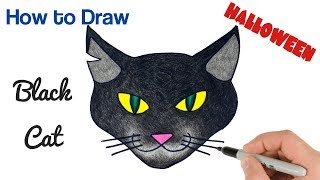 How to Draw a Black Cat | Halloween Drawings and Coloring for Kids