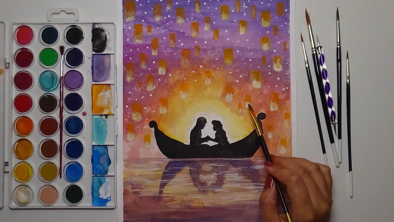 Watercolor Tangled Scene I See The Light Rapunzel Youtube