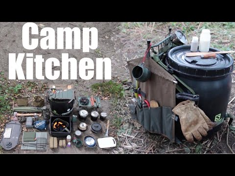Camp Kitchen.  My Cooking Gear For Camping And Canoe Trips.  Food Barrel.  Wannigan.