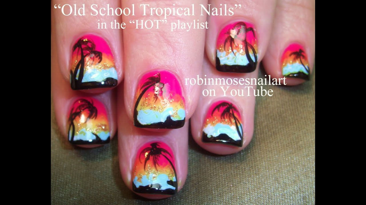 Old school palm tree nail art design tutorial on pink sunsets old school palm tree nail art design tutorial on pink sunsets surfer nails prinsesfo Gallery