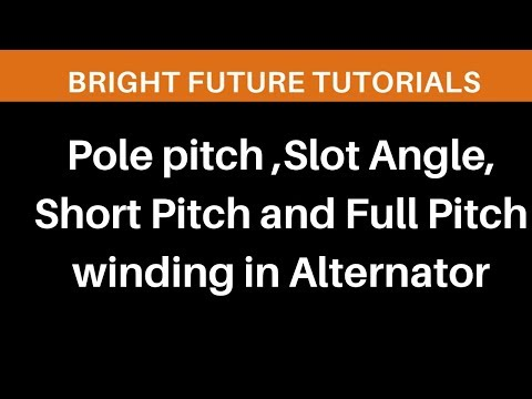 Pole Pitch in Electrical Machines (Slot angle ,Short pitch and Full