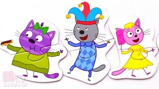 Три Кота и лучшие друзья - собираем пазлы-половинки для малышей | Merry Nika