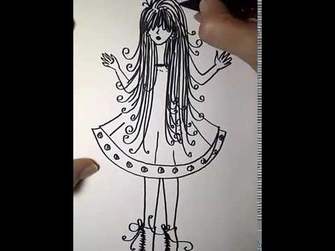i draw : how to draw a beautiful girl easy for kids ...