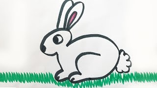 How to draw and color a Bunny -for kids!